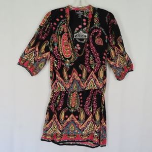 Angie Black Pink Paisley Floral Boho Tunic Top L